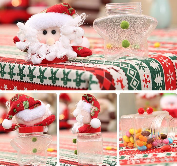 Noel Şeker Kutusu Noel Elk Santa Kardan Adam Ayı Bebekler Topper Temizle Tatlı Kutuları Konteyner Çocuklar Yeni Yıl Hediye Sarma ...