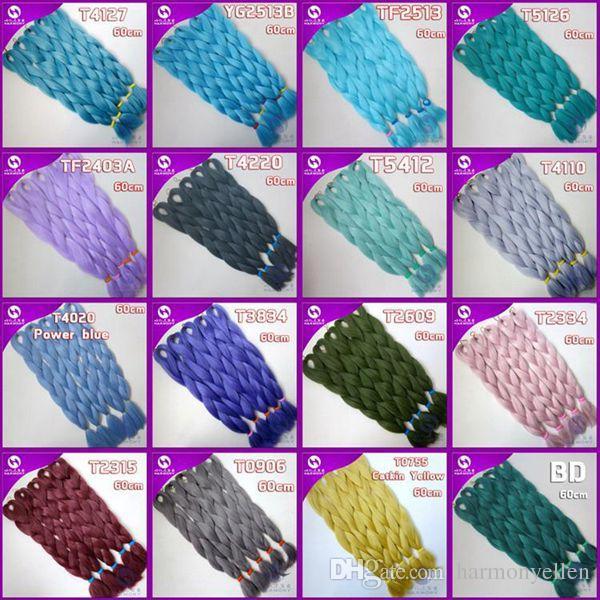 Kanekalon Jumbo плетение волос 24 дюймов Сложенный 80грамм Сплошной Темно-Зеленый Цвет STFG43 Синтетические Косы Наращивание Волос Бесплатная доставка
