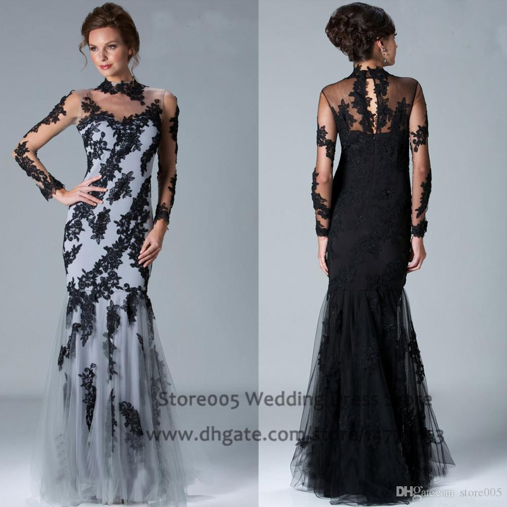 2015 Mother of the Bride Dresses Black High Neck Applique Lace Mermaid Evening Gowns Long Sleeves M1424