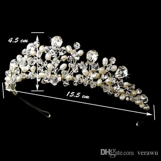 2016 Unique Romantic Handmade Crystal Pearls Bridal Hair Accessories Tiaras Wedding Crown Fashion Headbands Cheap