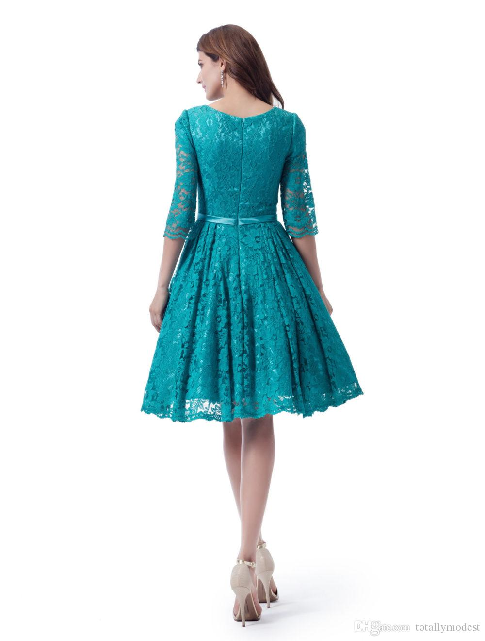 Turquoise Lace Short Modest Bridesmaid Dresses With 34 Sleeves Queen Anne Neckline Sheer Sleeve Teal Knee Length Bridesmaid Party Dresses