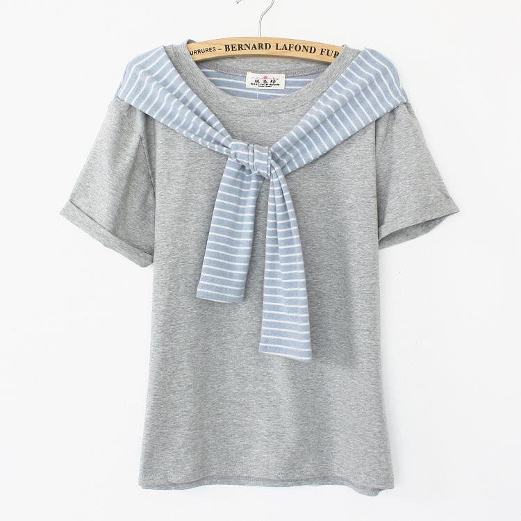 [Ada] Special design with striped shawl women short sleeve cotton t-shirt 2014 summer new tee