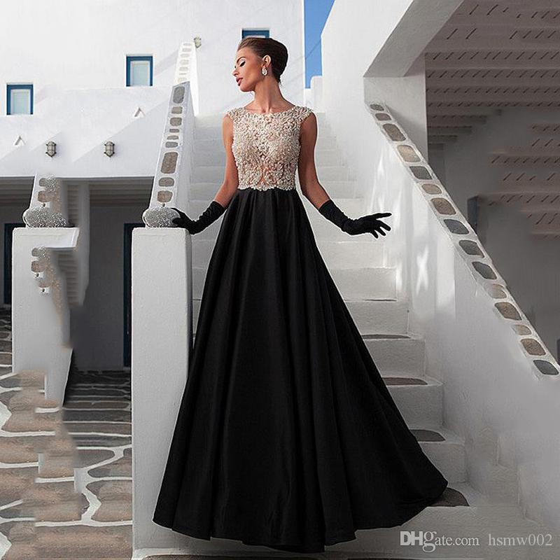 Stunning Scoop Neckline See-through Full-length A-line Evening Dresses With Beadings & Rhinestones Black Prom Party Dresses Evening Gowns