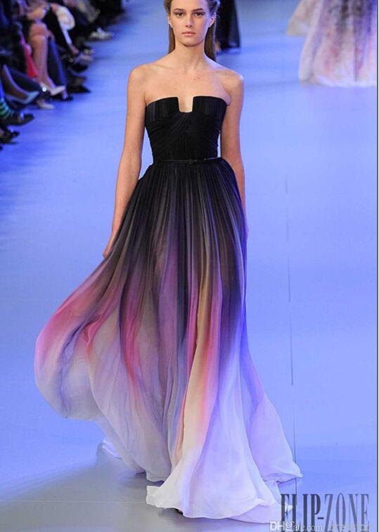 Elie Saab Ombre Pleats Fashion Prom Dresses A Line Strapless ...