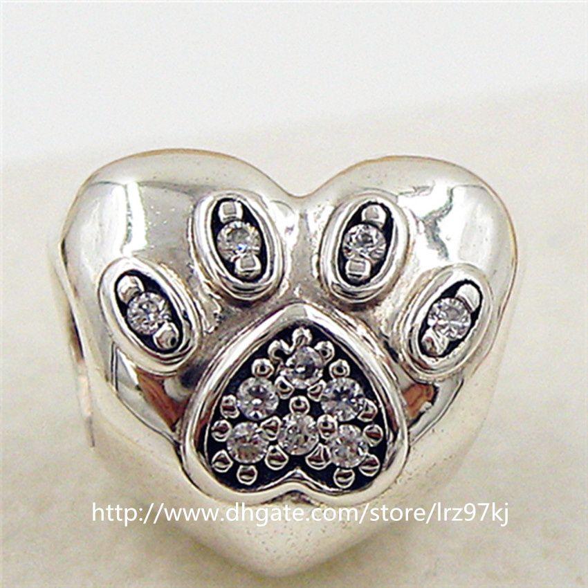 2015 Nova 925 Sterling Silver Eu Amo Meus Animais de Estimação Charme Bead com Cz Cz Fits Europeu Jóias Pulseiras colar
