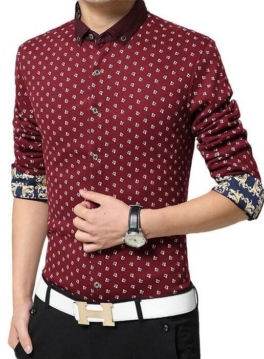 Best 2016 cotton men 39 s casual shirts floral sleeve new for Best mens dress shirts under 50