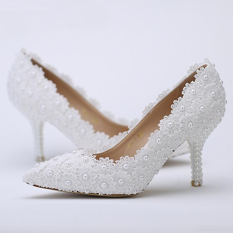affordable wedding shoes pointed toe wedding shoes white lace flower with ivory 1238