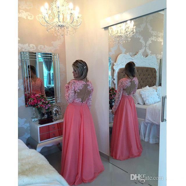 Melon d'eau à manches longues en dentelle robes de bal avec des perles robes de soirée robe de soirée col en V robe de soirée robe de soirée