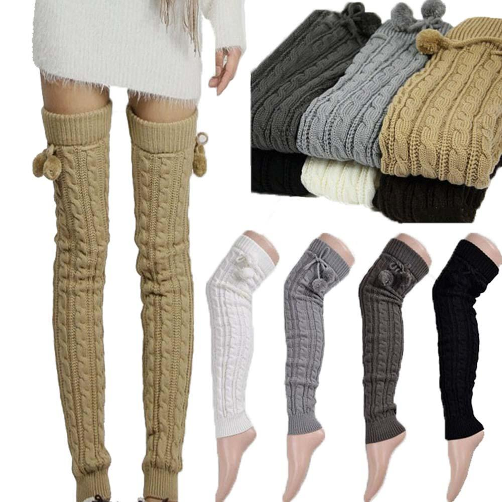 f8e51167baf 2019 New Women Sexy Warm Classic Leg Warmers Knitting Casual Knee Footless  Autumn Winter Thigh High Legging Stovepipe 65cm Long Q171118 From Tai002