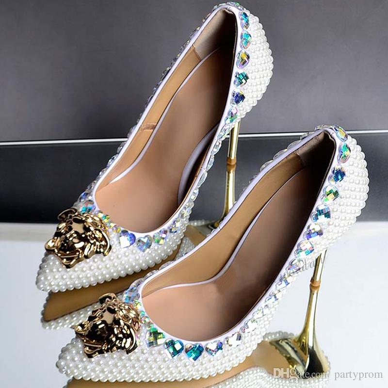 Fashion Highly Recommended Ivory Pearl Crystal Wedding Shoes Pointed Toe Bridal Shoes Gorgeous Banquet Party Prom Dress Shoes