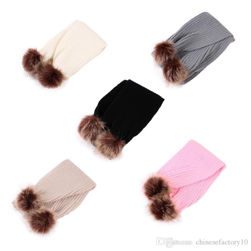 Großhandel Ins Baby Winter Schal Häkeln Mädchen Haar Ball Halstuch