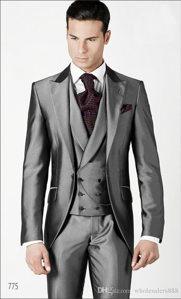 43dfac954fcc06 Cheap 2016 Groom Tuxedos Shiny Light Grey Groomsmen Peak Lapel .