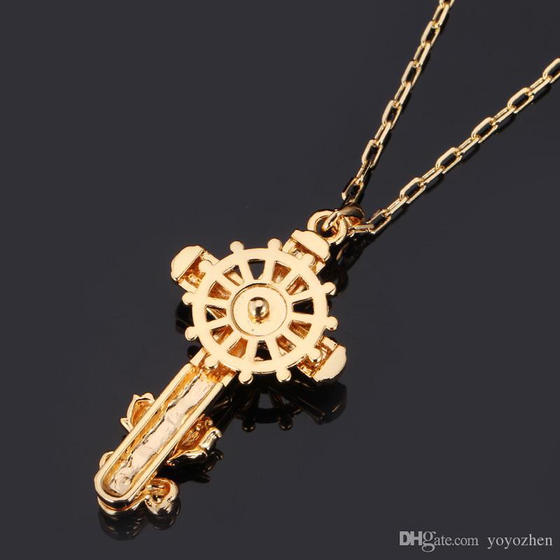 Gran Cruz Colgante en Oro 18K / Platino Plateado Gargantilla de diamantes de imitación de Calidad a Jesús Joyas Jesús Joyas YP1287