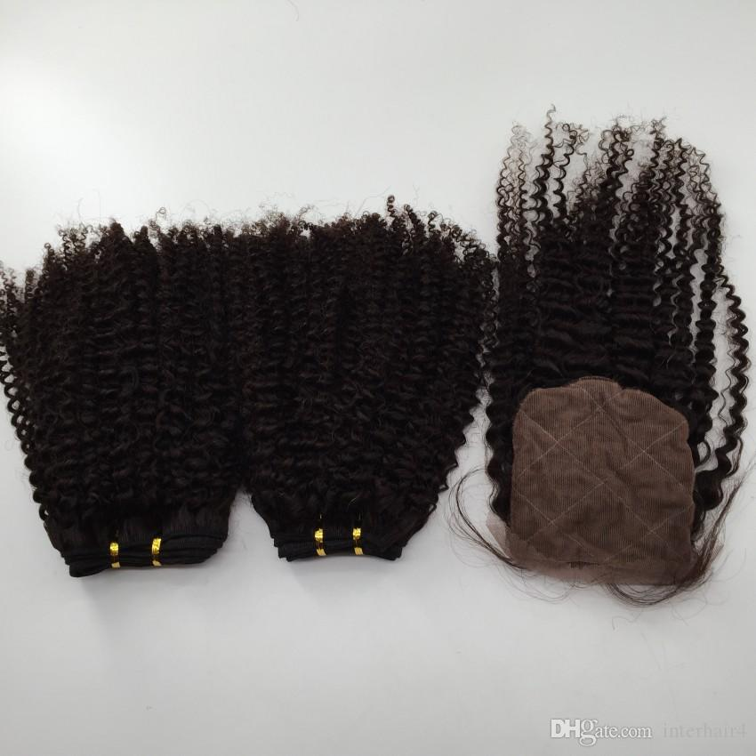 Silk Closure With Brazilian Hair Bundles Kinky Curly Remy Human Hair Weave Unprocessed Virgin Hair Indian Malaysian Peruvian Hair Extensions