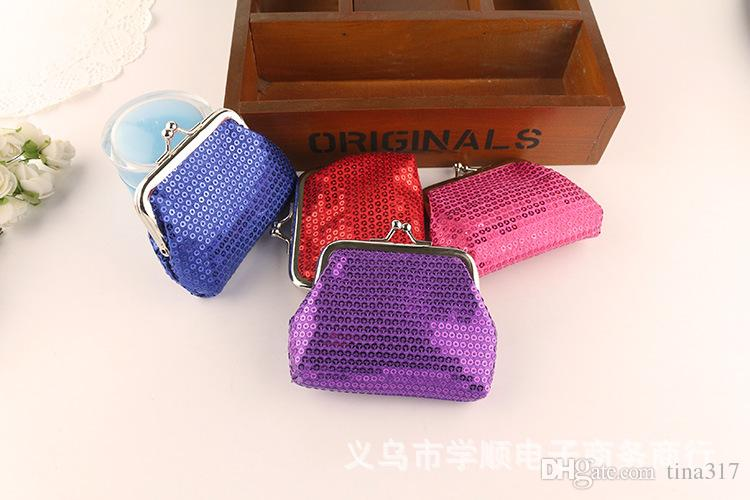 NEW fashion womens mini coin wallet kids change purse Sequins candy-colored shiny coin purse bag gift 1933