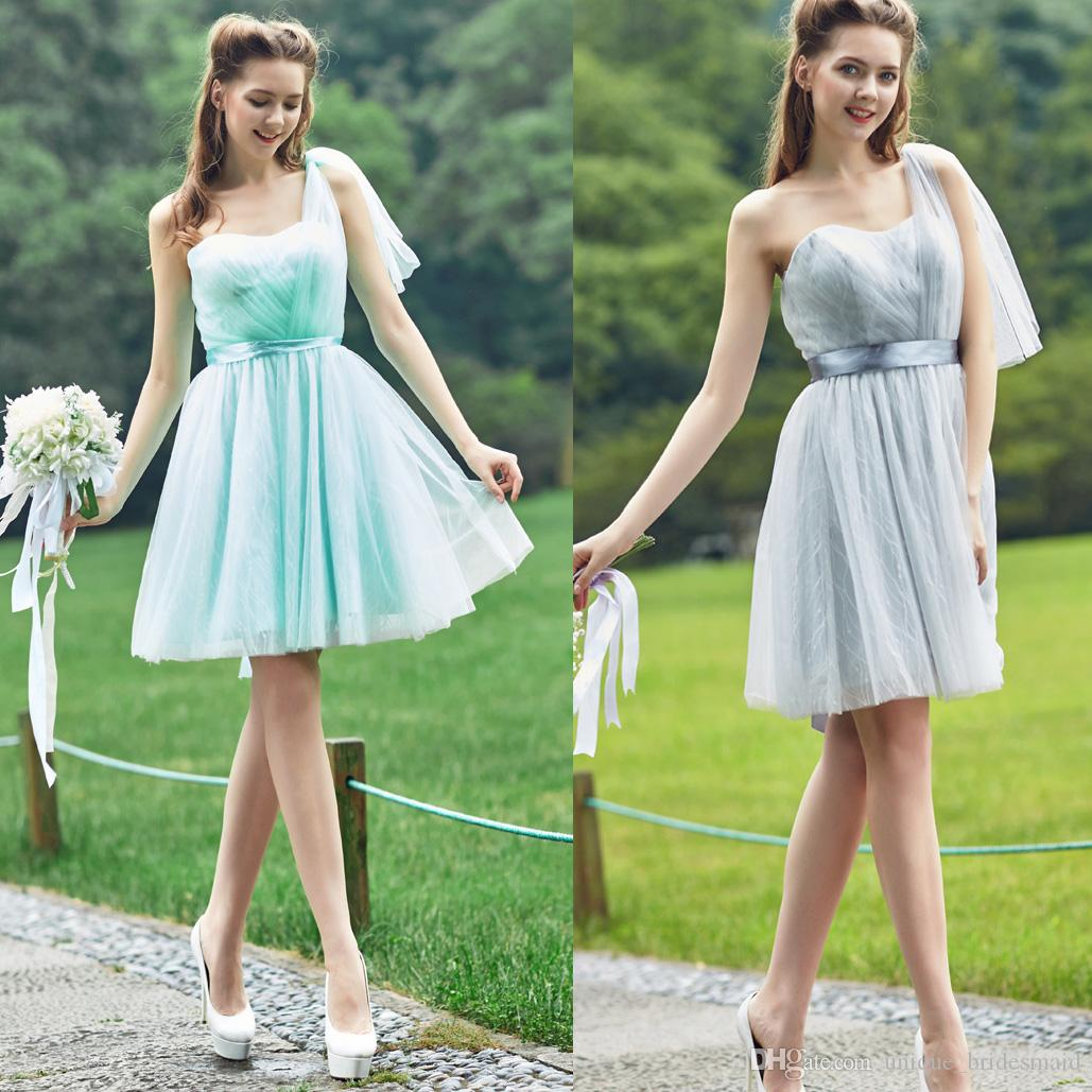 Cheap bridesmaids formal dresses knee length a line one shoulder see larger image ombrellifo Choice Image