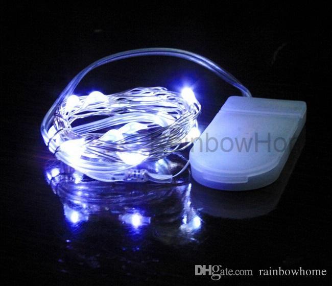 CR2032 Knapp Batteri Operated LED Koppar Silver Wire Fairy String Lights för Juldekoration Hem Bröllopsfest Xmas Lighting 2m 20Lled