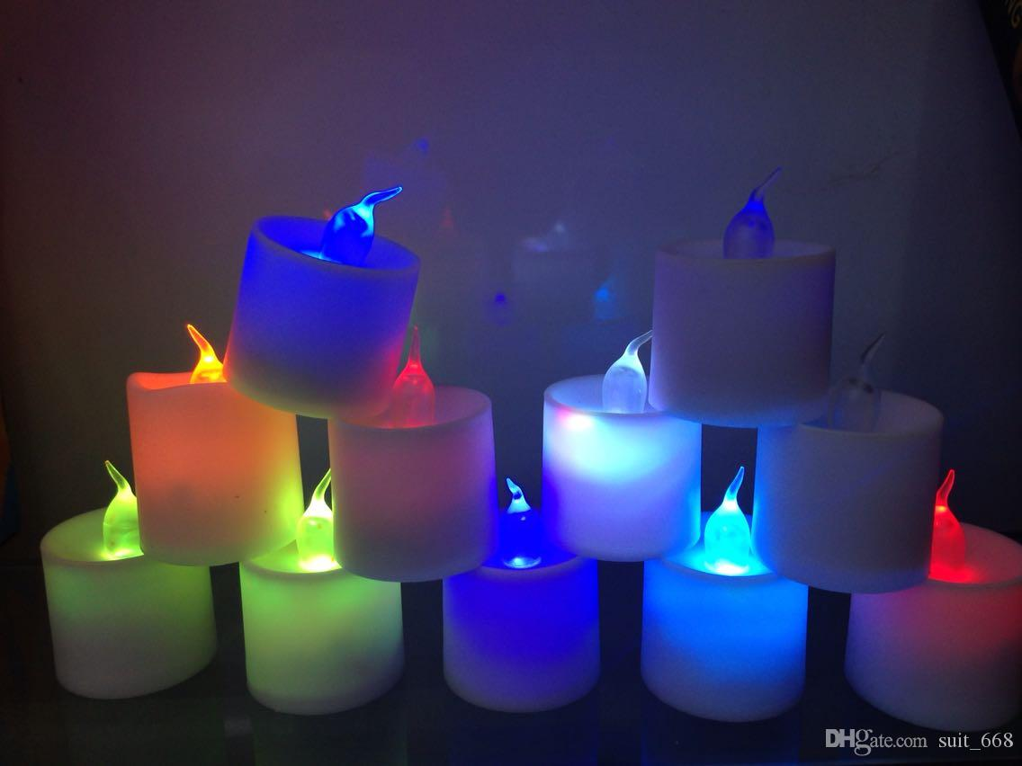 Colorful electronic candle lights flashing led candle light simulation emitting light candles smokeless candles courtship confession