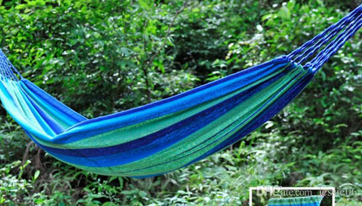 Travel Camping Canvas Hammock Outdoor Swing Garden Indoor Sleeping Rainbow Stripe Double Hammock with bag Bed 280X80cm drop shipping gift