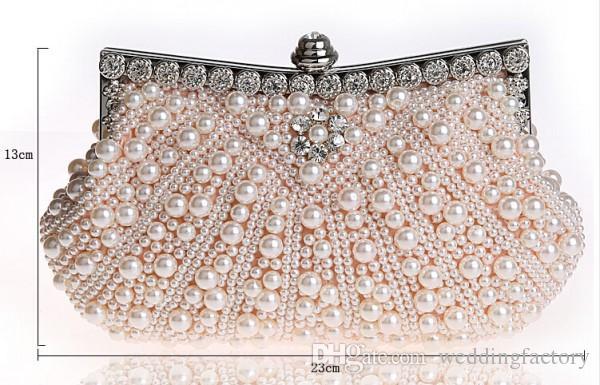 Perles Superbes De Mariée Sacs À Main De Luxe Pas Cher Haute Qualité Accessoires De Mariage Champagne Noir Ivoire Soirée Sac