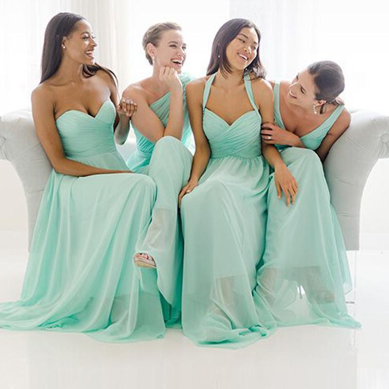 2015 Turquoise Chiffon Bridesmaid Dresses Different Mix Styles ...