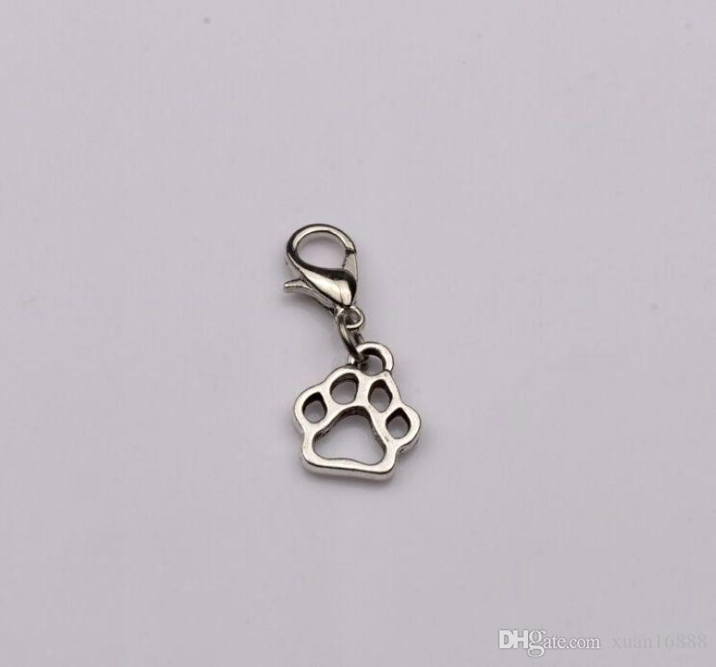 Hot Sell ! Antique Silver Hollow Paw Print Dangle Bead with Lobster clasp Fit Charm Bracelet 11 x 27 mm 402