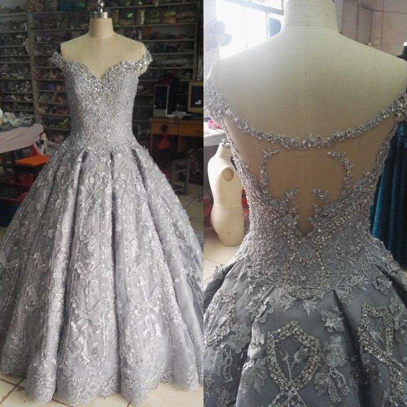 compre vestido de novia de plata de lujo vestido de bola fuera del
