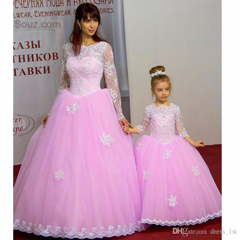 Elegant 2017 Pink Tulle Mother And Daughter Matching Ball Gown Prom Dresses Long With Long Sleeve Applique Formal Dresses Party Gown EN11278