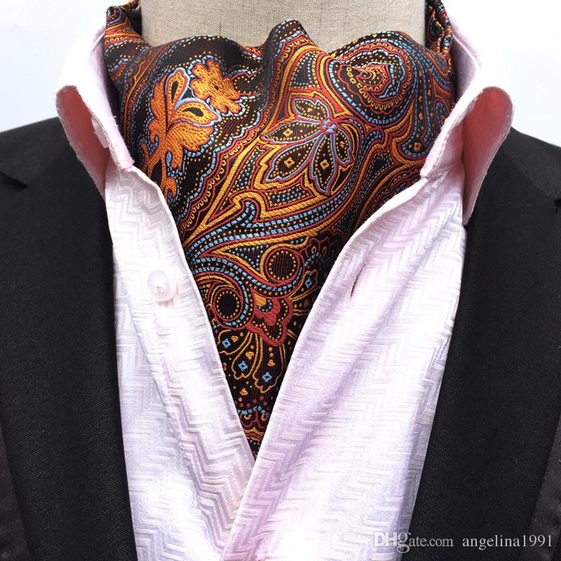 02908f0aad43 2019 Gold Paisley Floral Silk Mens Blue Ascot Cravat Jacquard Ties Woven  Party Shirt Elegant Dress Lote From Angelina1991, $3.02 | DHgate.Com