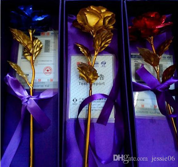Online Cheap Plated 24k Golden Rose Flower ValentineS Day Party