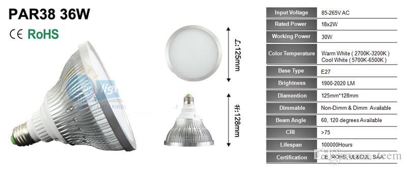 디 밍이 가능한 led 전구 스포트라이트 par38 par30 par20 85-240V 12W 24W 36W E27 par 20 30 38 LED 조명 스포트 램프 조명 통 20