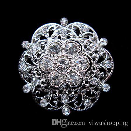 Diseño de la mezcla brillante plata plateado cristal claro Rhinestone Broches y alfileres de tamaño pequeño para el ramo de la joyería