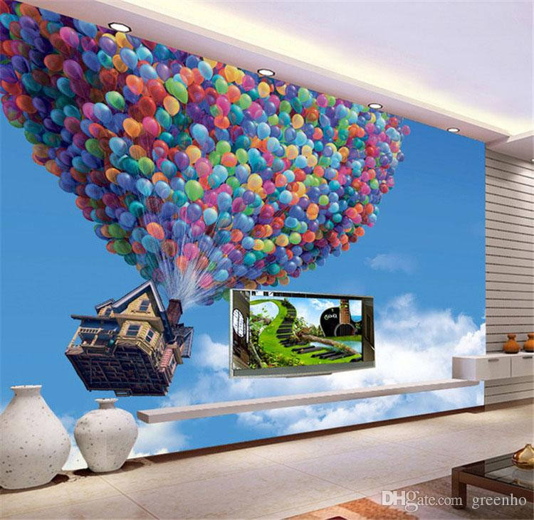 custom photo wallpaper movie up mural balloon and house wall mural