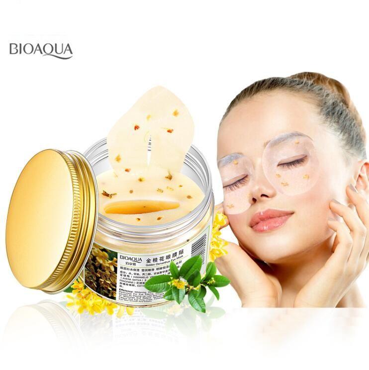 BIOAQUA Ouro Osmanthus Máscara de Olho Colágeno Gel Proteínas de Soro de Leite Remendos do Sono Remover Máscara de Olhos Mousturizing de Círculo Escuro