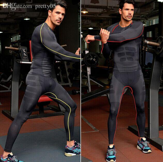 9618fc1e99f31a 2019 Wholesale 2015 Mens Quick Dry Long Sleeve Compression Shirt Pants Suit  Elastic Running Shirt Gym Workout Fitness Tight Sportswear From Pretty05,  ...