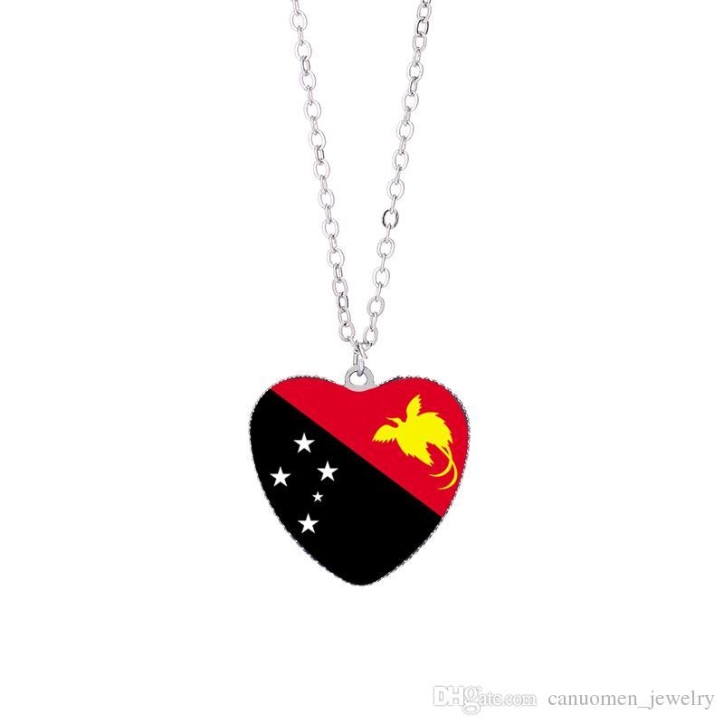 Australia Flag Pendant Necklaces 25mm Heart Glass Cabochon Papua New Guinea Nauru Solomon Flags Festival Women Jewelry Wholesale