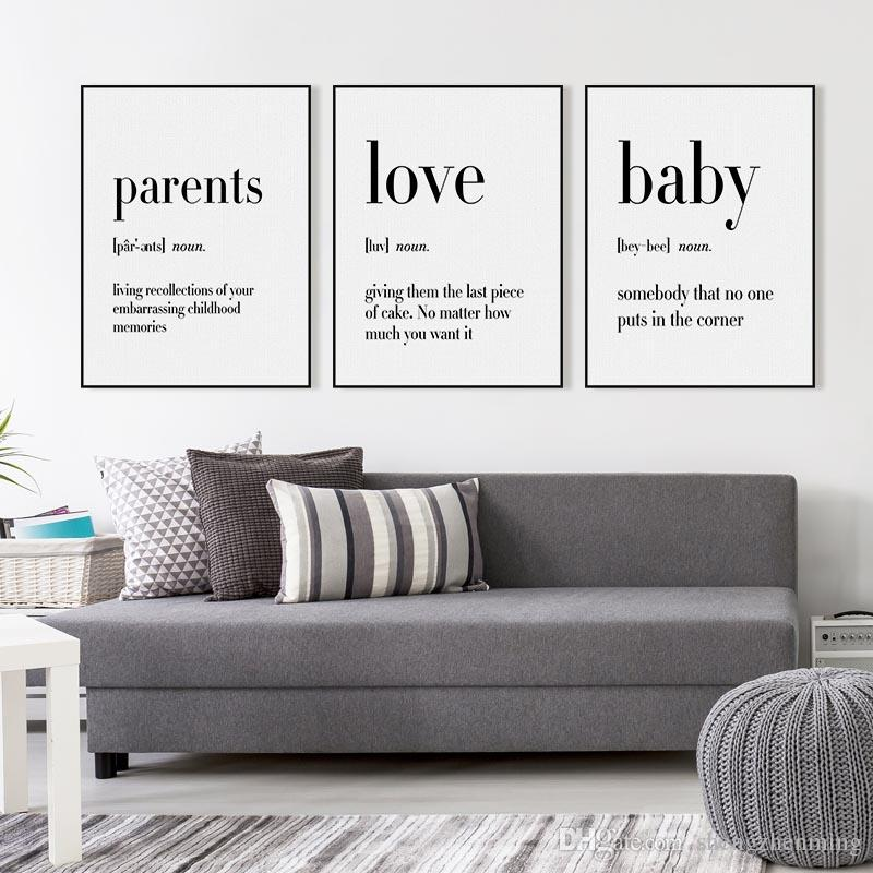 2019 Modern Minimalist Black White Family Dad Mother Quotes A4