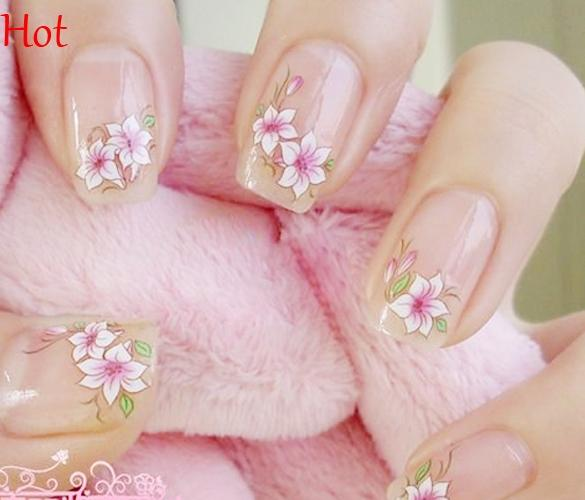 2016 Top Sell Flower Nail Stickers Rose Water Transfer Watermark