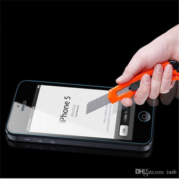 Haute Qualité En Verre Trempé Protecteur D'écran 0.26mm 2.5D Antidéflagrant Film Pour iPhone 5 6S 6 Plus Samsung S7 S6 S5 S4 Note 5 4