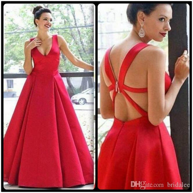 Великолепный красный атлас длинные вечерние платья V шеи крест-накрест обратно 2016 вечерние платья выпускного вечера платья халат де вечер