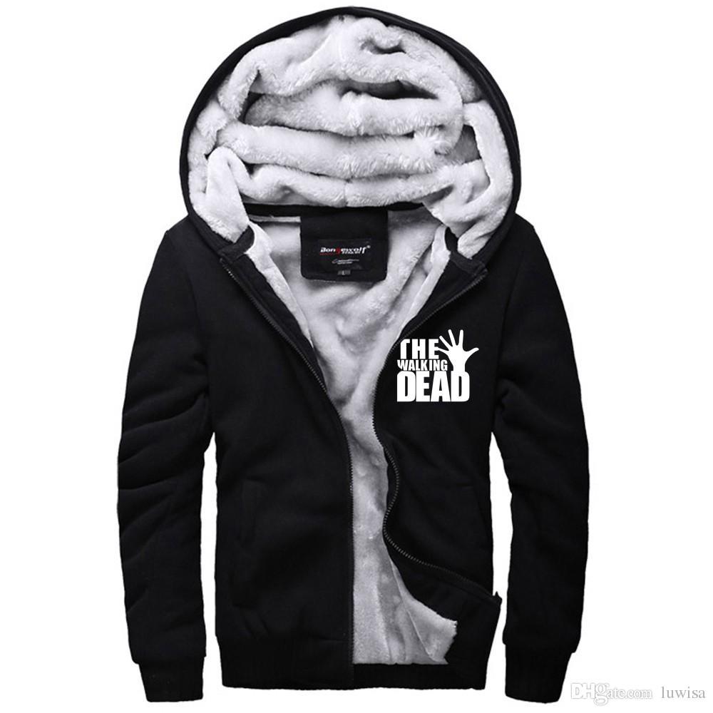 Ходячие мертвецы толстая куртка зомби зима теплая фланель балахон пальто мягкие унисекс кашемир толстовки ветровка горячая распродажа новый