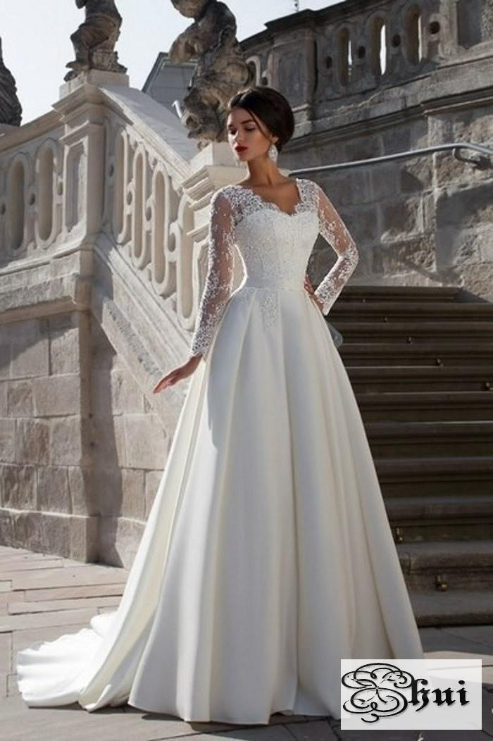 Applique Train V Neck 2016 Vintage Satin Hippie Boho Beach Country Cheap Full Long Sleeve Lace Wedding Dresses China A Line Bridal Gown new