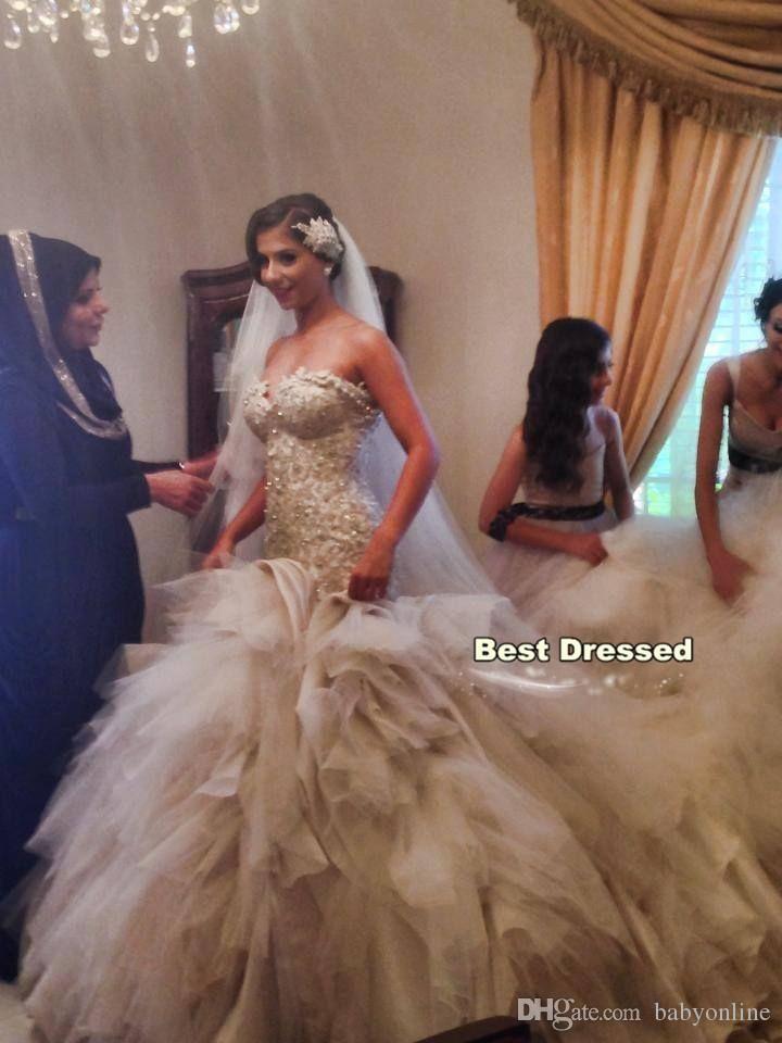 새로운 섹시한 레이스 인어 공주 웨딩 드레스 대성당의 기차 섹시한 연인의 신부의 드레스 다시없는 크기의 아랍어 봄 신부의 복장