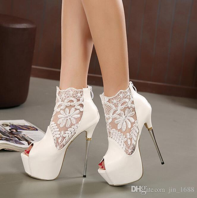 Venta al por mayor al por menor - El cordón atractivo ahueca hacia fuera los zapatos para mujer de la cremallera de los tacones altos Peep toe zapatos de la boda de la sandalia de la bomba