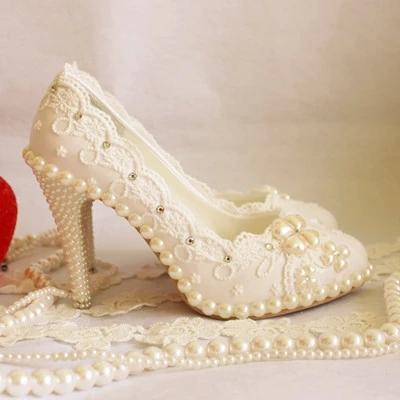 Elegant White Lace Wedding Shoes Rhinestones Bridal Shoes Crystal Pearl  Handmade Custom Made Shoes Flat To 10cm Heel Wedding Shoes Low Heel Cheap  Wedding ...