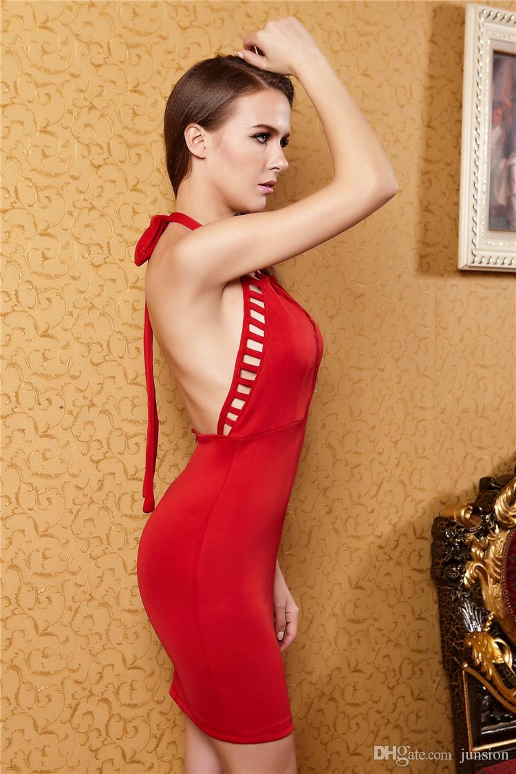 Evening Dress 2015 Cocktail Dresses 2016 Summer Women Clothes Red Skirt Health cloth Backless hollow out Street Style Fashion Sexy Party