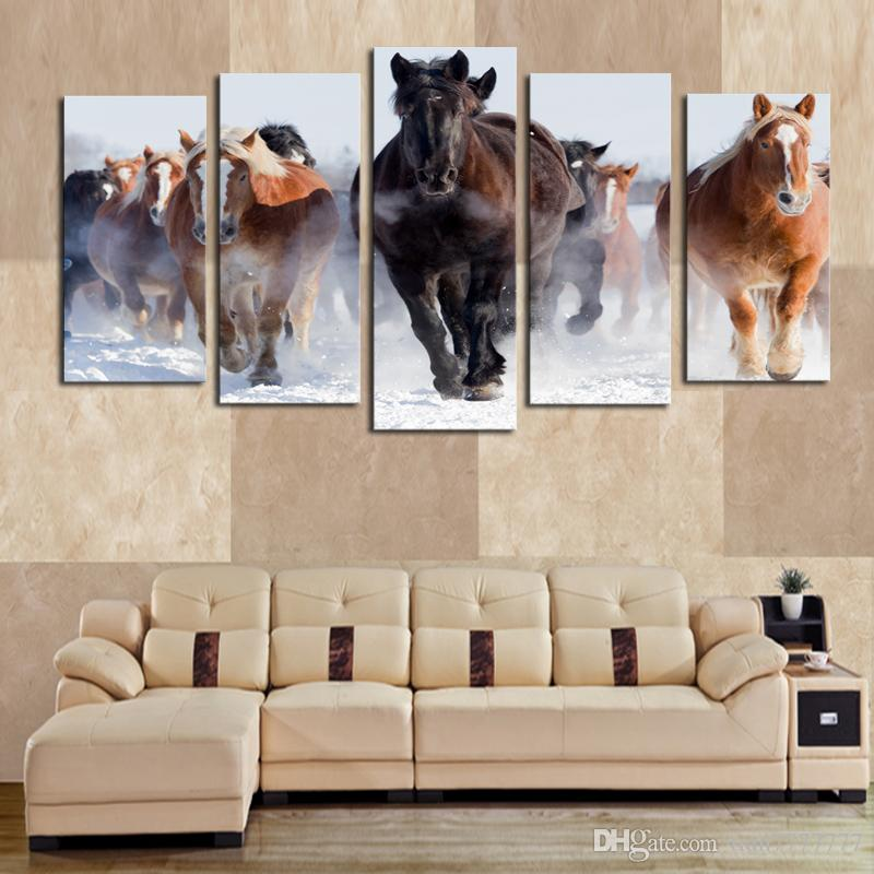 5 Panel Canvas Art Horses Painting Full Steam Ahead Prints Living Room Decor Unframed Painting Hot Sale