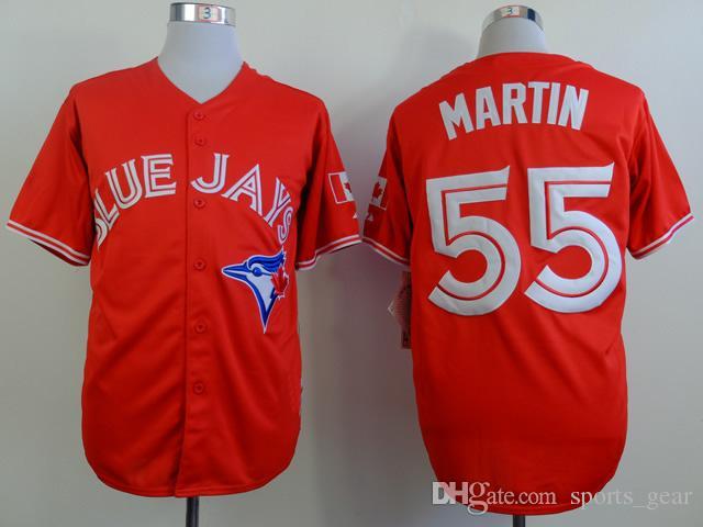 e81b4c478719c Compre Red Blue Jays   55 Russell Martin Jersey Jersey El Día De Canadá  La  Mejor Calidad De Los Jerseys Del Béisbol Camisas Frescos Del Béisbol De Los  ...