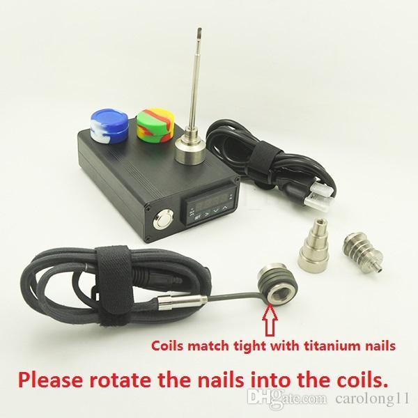 Pas cher Électrique Dab Nail Box Kit Complet avec Gr2 Titane Clous Kit Température Contrôleur 100w pour Rig Huile Verre Bongs tuyau d'eau