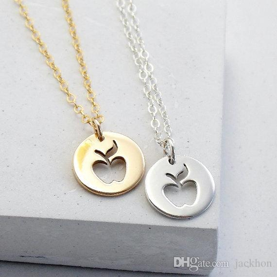 - N123 Gold Silver Cute Apple Necklace Simple Funny Outline Fruit Necklace Teacher Necklaces Circle Disc Necklaces for Coin Jewelry
